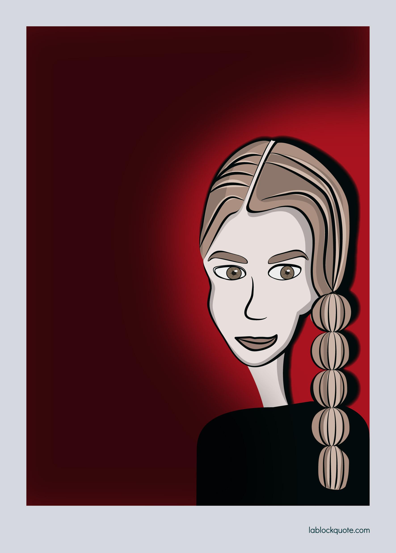Ilustración mujer joven con trenza