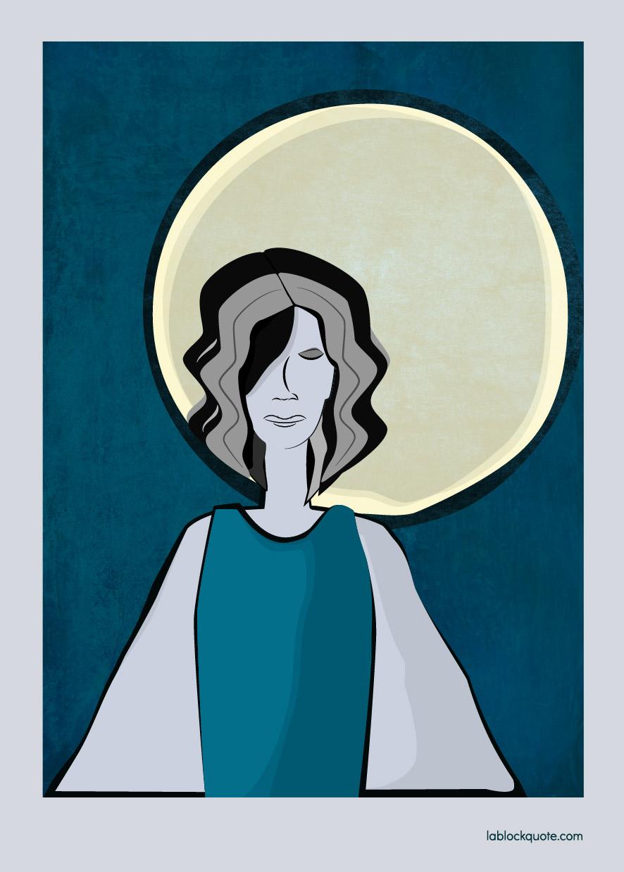 Ilustración mujer triste con alas